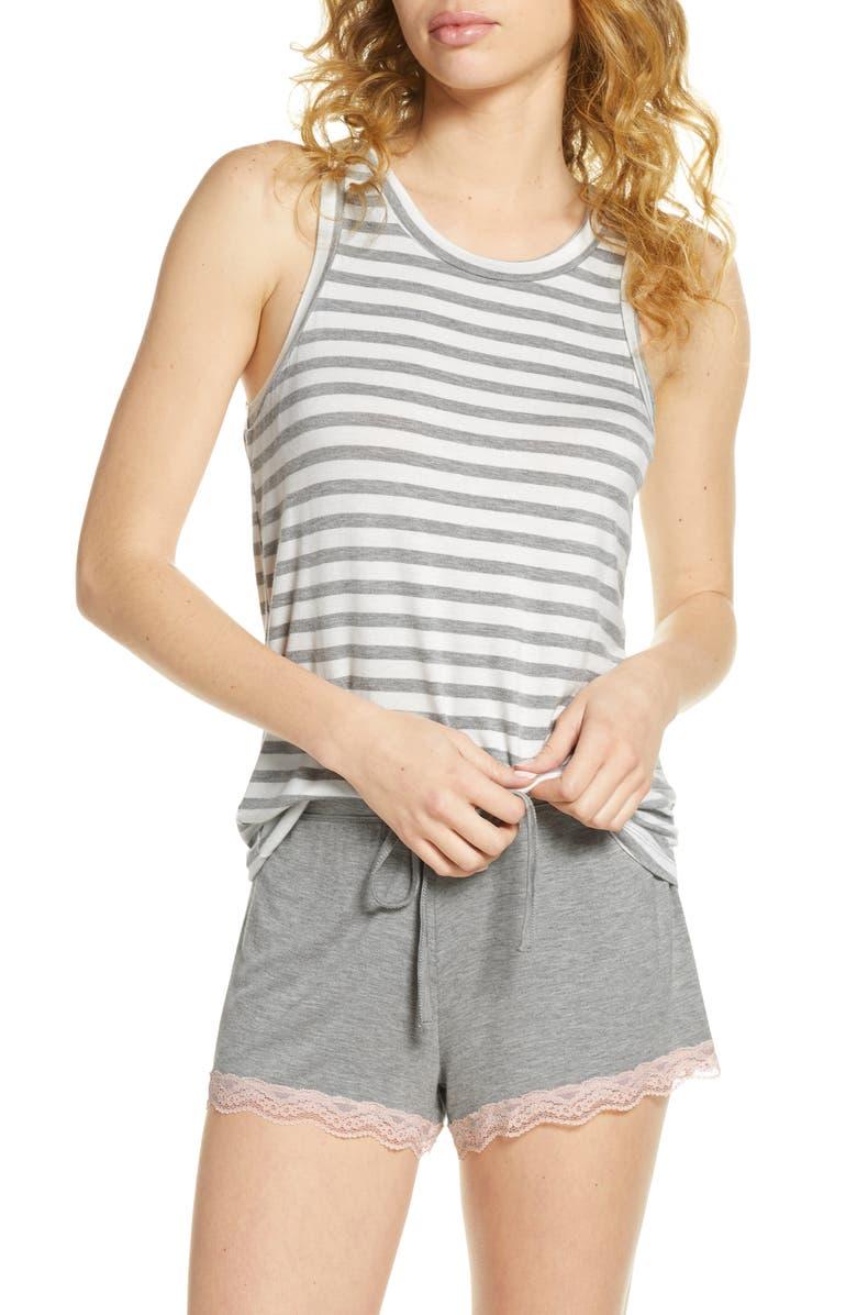 HONEYDEW INTIMATES All American Shortie Pajamas, Main, color, IVORY STRIPE