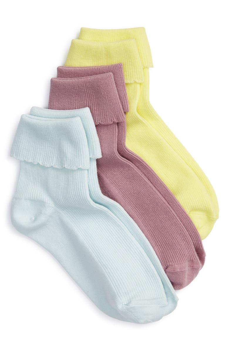 BP. 3-Pack Scalloped Ankle Socks, Main, color, 421