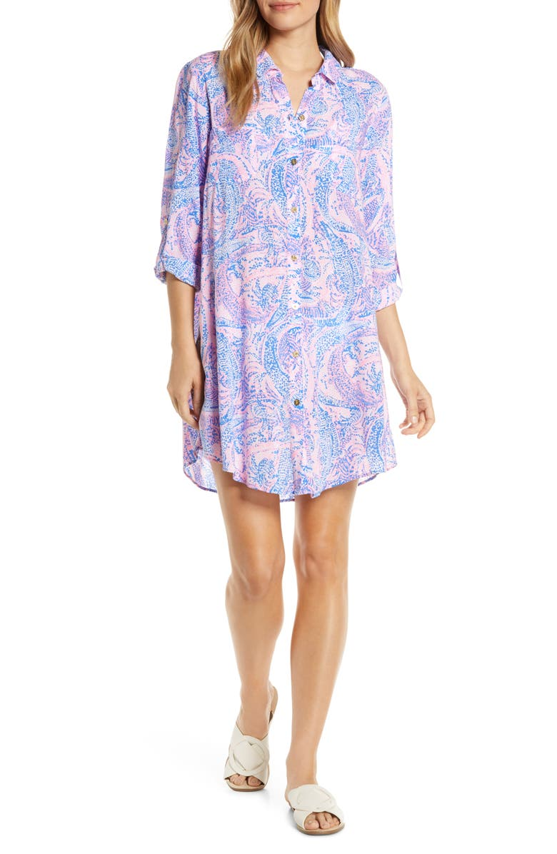 LILLY PULITZER<SUP>®</SUP> Natalie Cotton Shirtdress, Main, color, COASTAL BLUE MAYBE GATOR