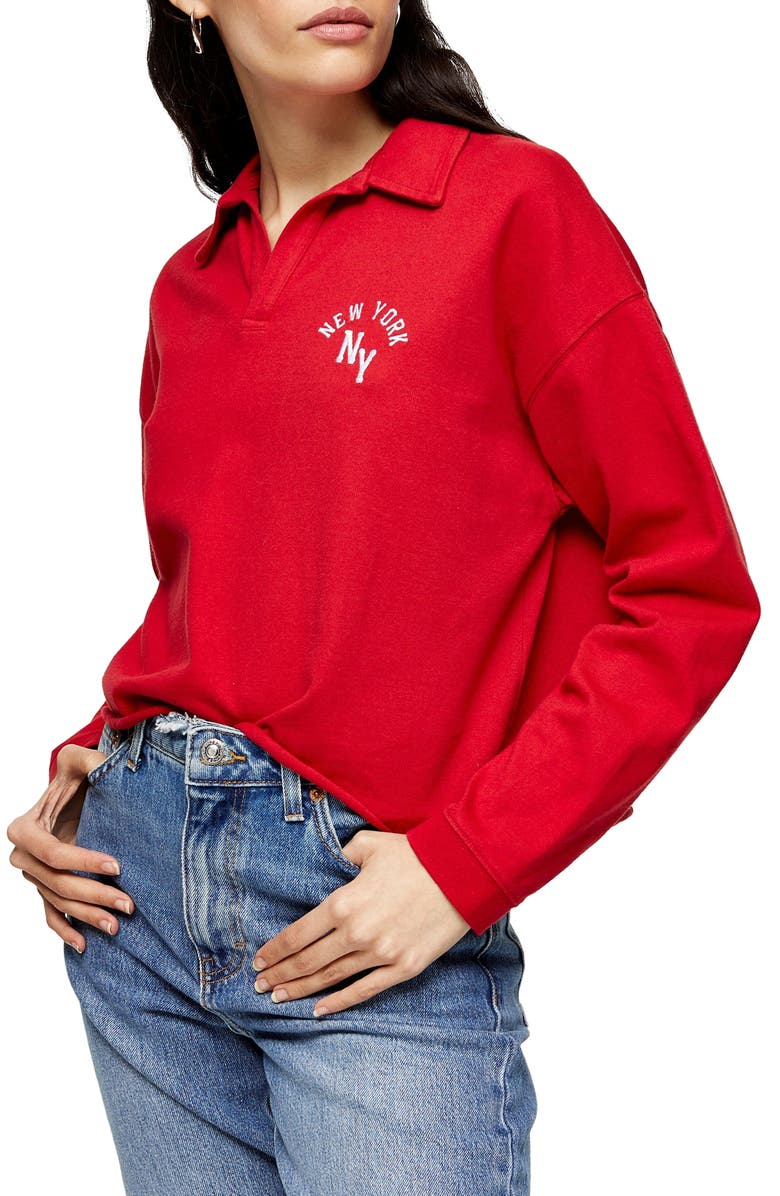 TOPSHOP New York Rugby Top, Main, color, RED