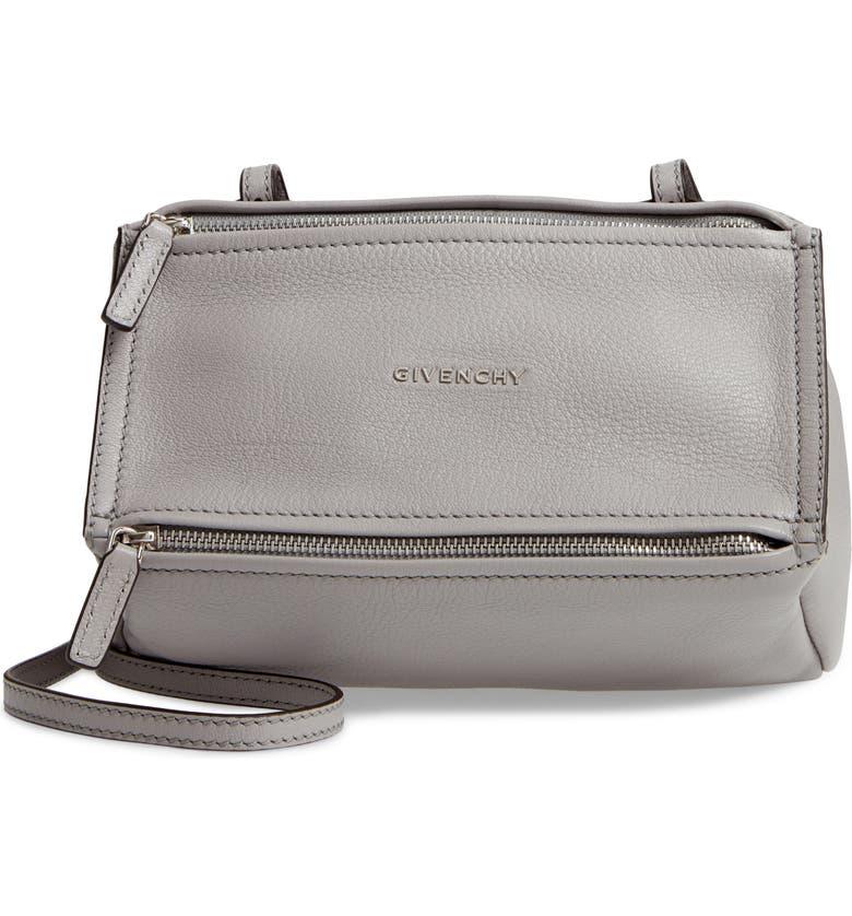 GIVENCHY Mini Pandora Sugar Leather Shoulder Bag, Main, color, PEARL GREY