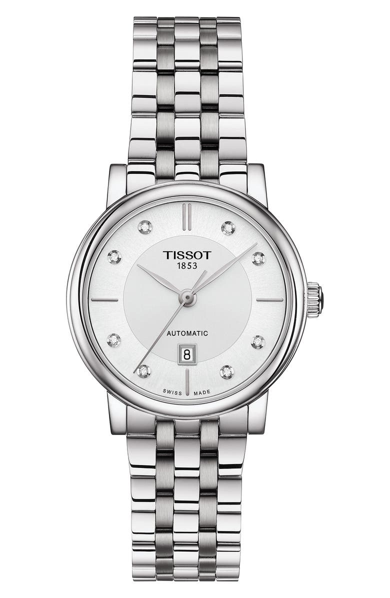 TISSOT T-Classic Carson Diamond Bracelet Watch, 30mm, Main, color, SILVER/ WHITE/ SILVER