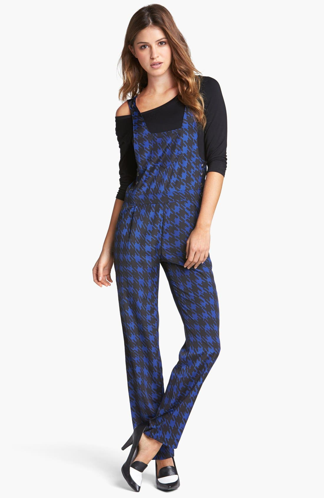 Houndstooth Print Overalls, Main, color, 410