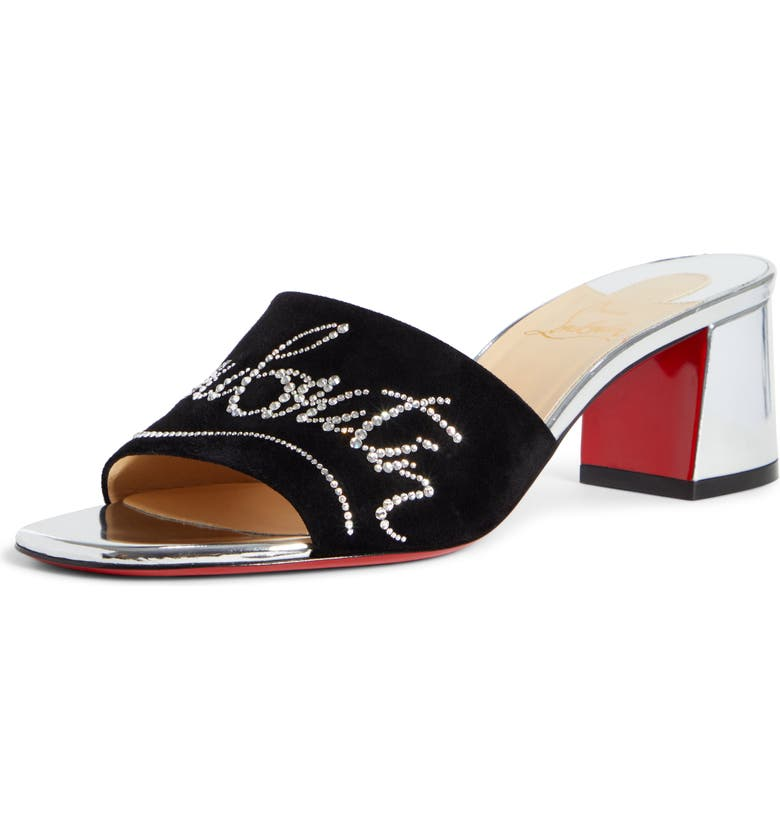 CHRISTIAN LOUBOUTIN Dear Home Slide Sandal, Main, color, BLACK/ SILVER