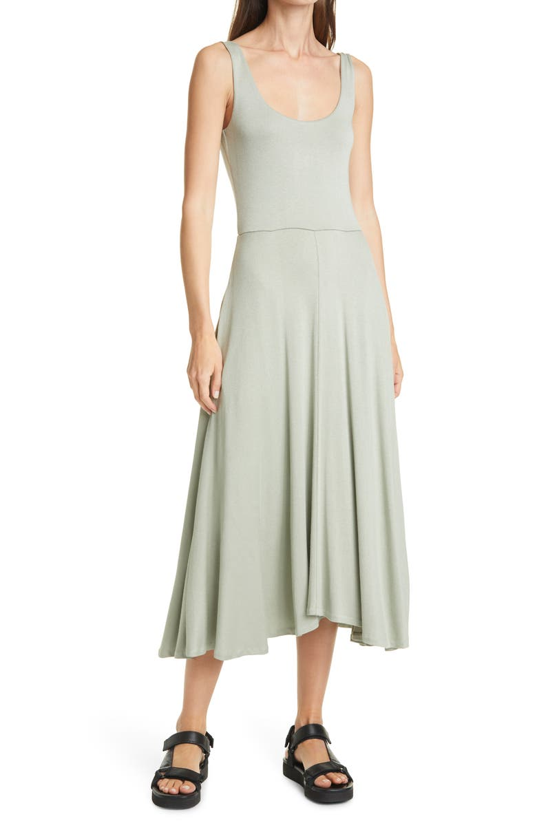 VINCE Handkerchief Hem Sleeveless Tank Dress, Main, color, CELERY