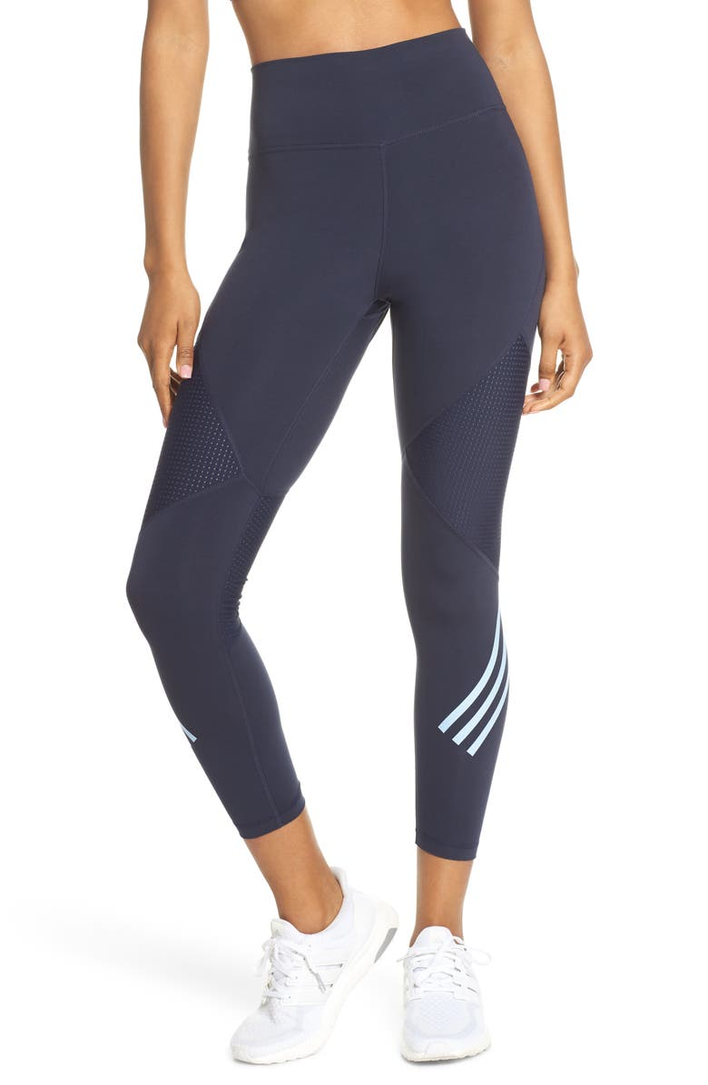 ADIDAS Believe This High Waist 7/8 Tights, Main, color, LEGEND INK/ GLOW BLUE