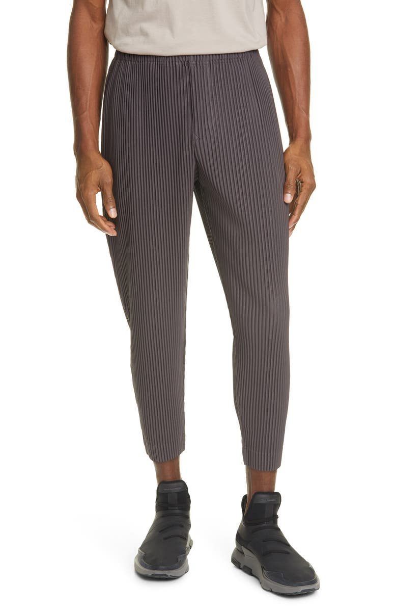 HOMME PLISSÉ ISSEY MIYAKE MC Pleated Crop Trousers, Main, color, MUD BROWN