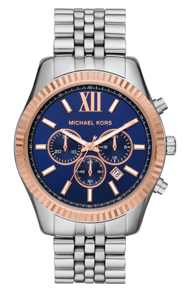 MICHAEL KORS Large Lexington Chronograph Bracelet Watch, 45mm, Main, color, 041