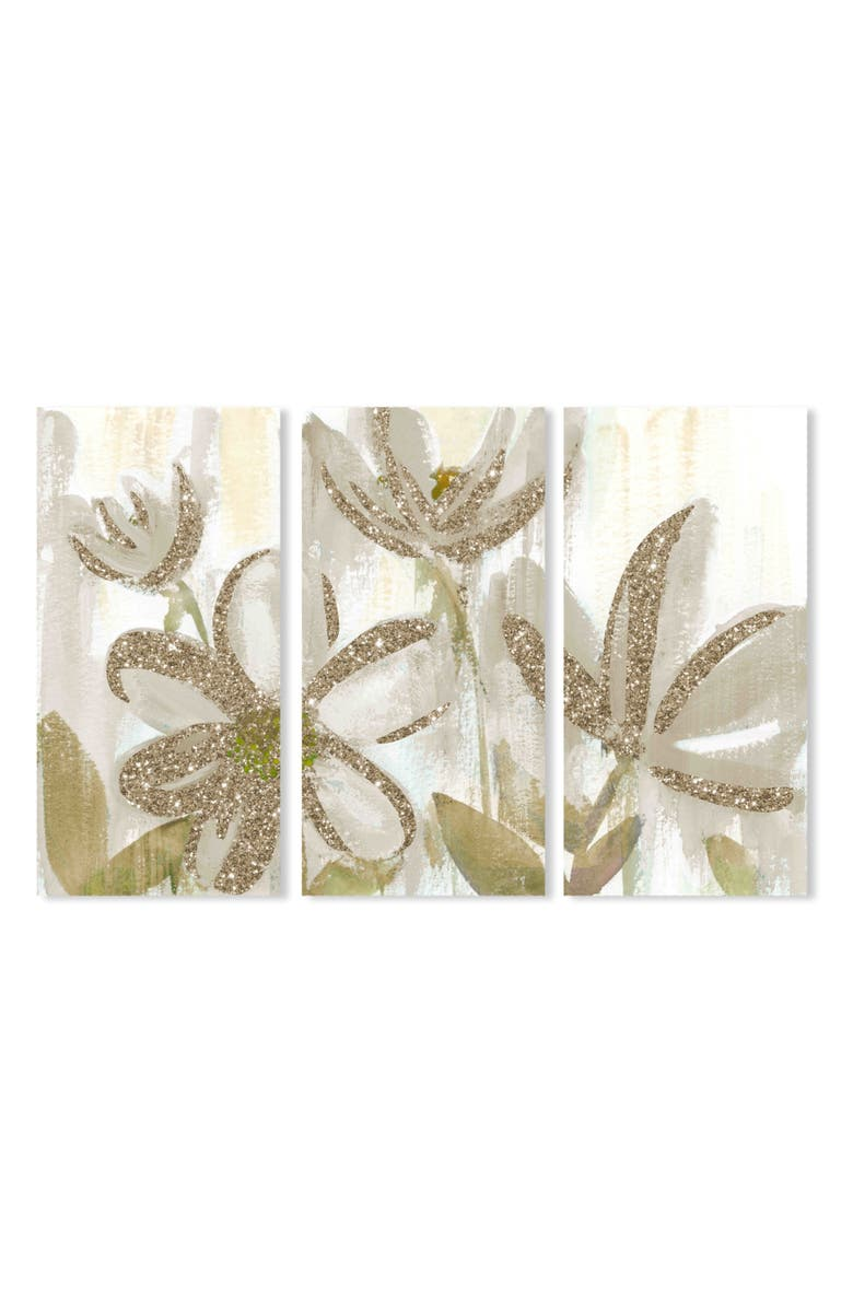 OLIVER GAL Sparkle Flower Canvas Triptych Wall Art, Main, color, RED