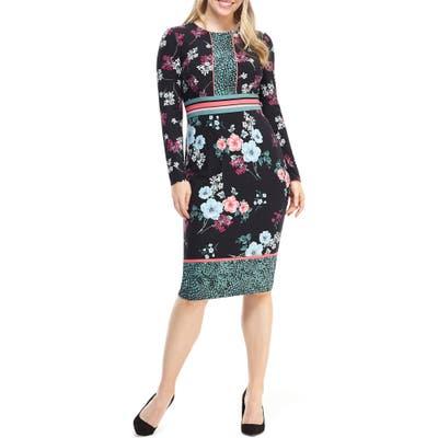 Maggy London Floral Print Long Sleeve Jersey Dress, Black