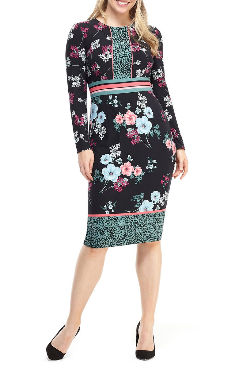 MAGGY LONDON Floral Print Long Sleeve Jersey Dress, Main, color, 001