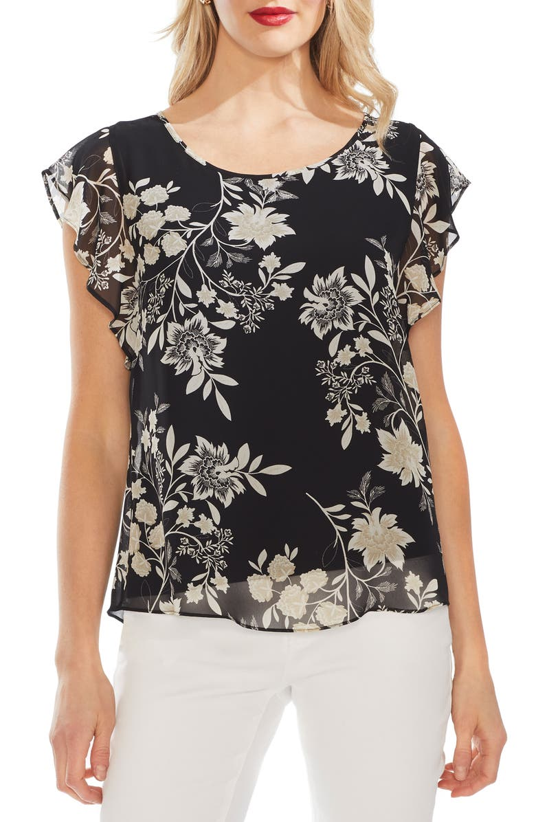 VINCE CAMUTO Flutter Sleeve Floral Top, Main, color, RICH BLACK