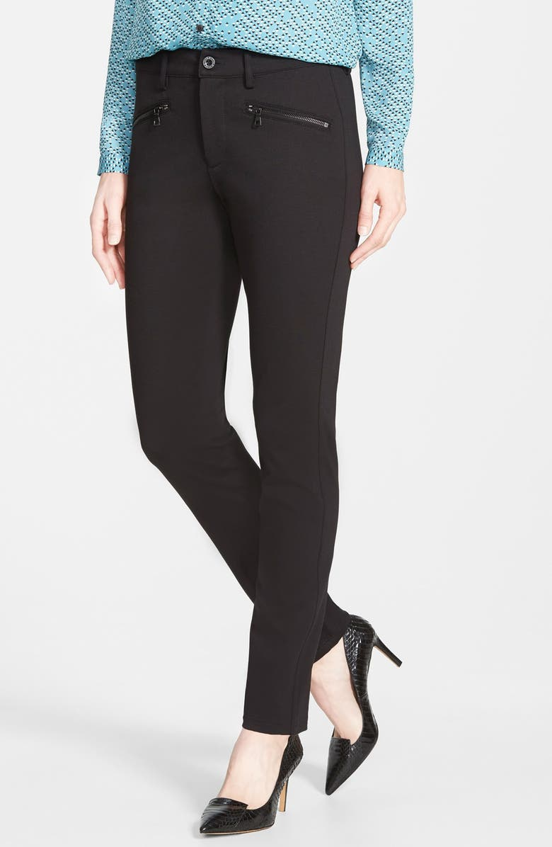 NYDJ 'Ski' Zip Pocket Ponte Knit Pants, Main, color, BLACK