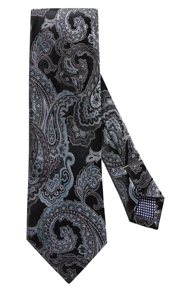 ETON Paisley Silk Tie, Main, color, BLACK