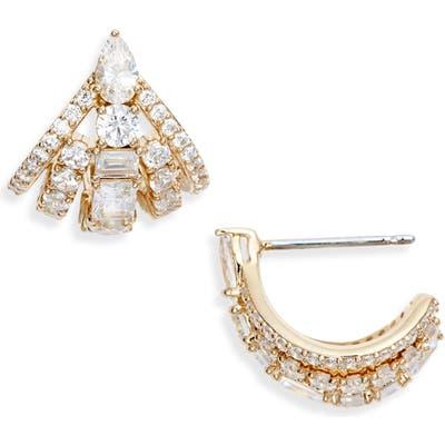 Nadri Rae Mini Fan Earrings