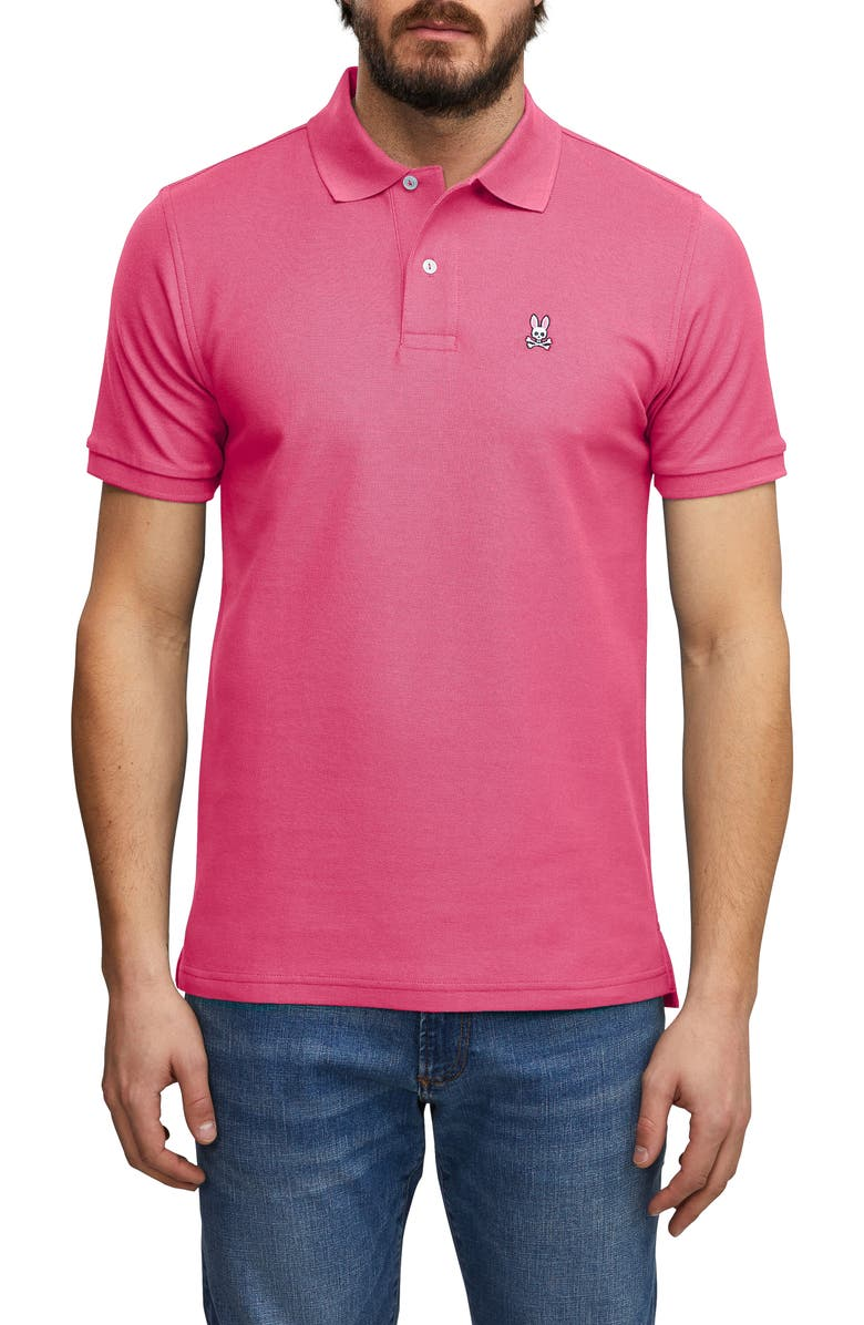 PSYCHO BUNNY Sport Chiltern Piqué Polo, Main, color, HOT PINK