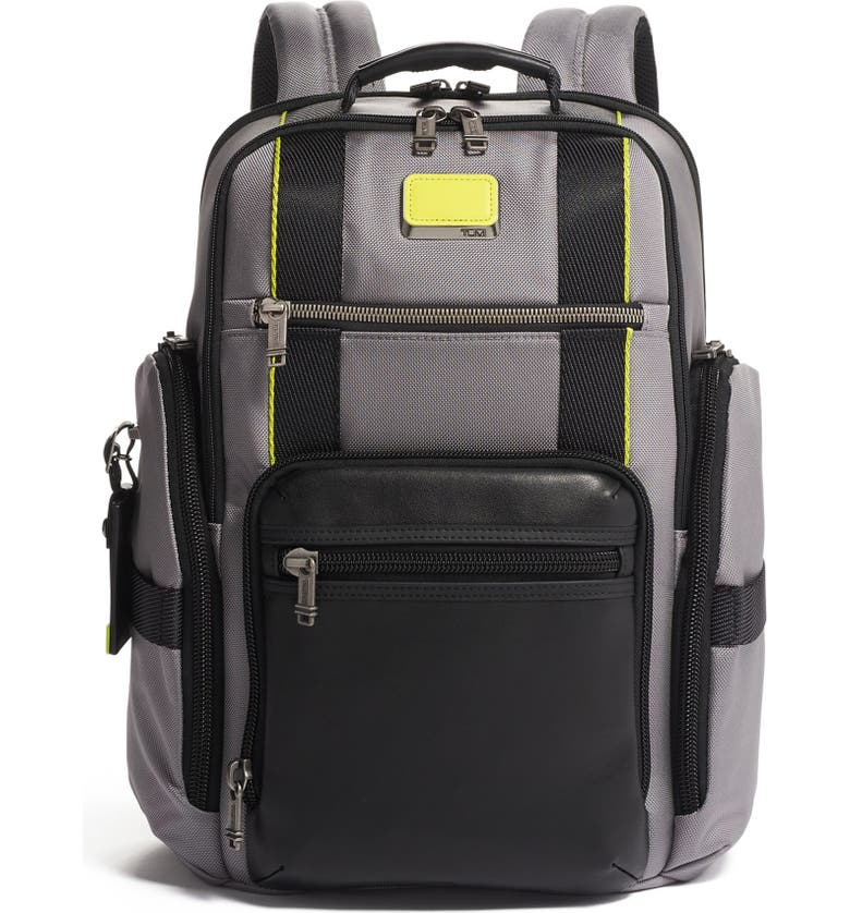 TUMI Alpha Bravo Sheppard Deluxe Backpack, Main, color, GREY/ BRIGHT LIME
