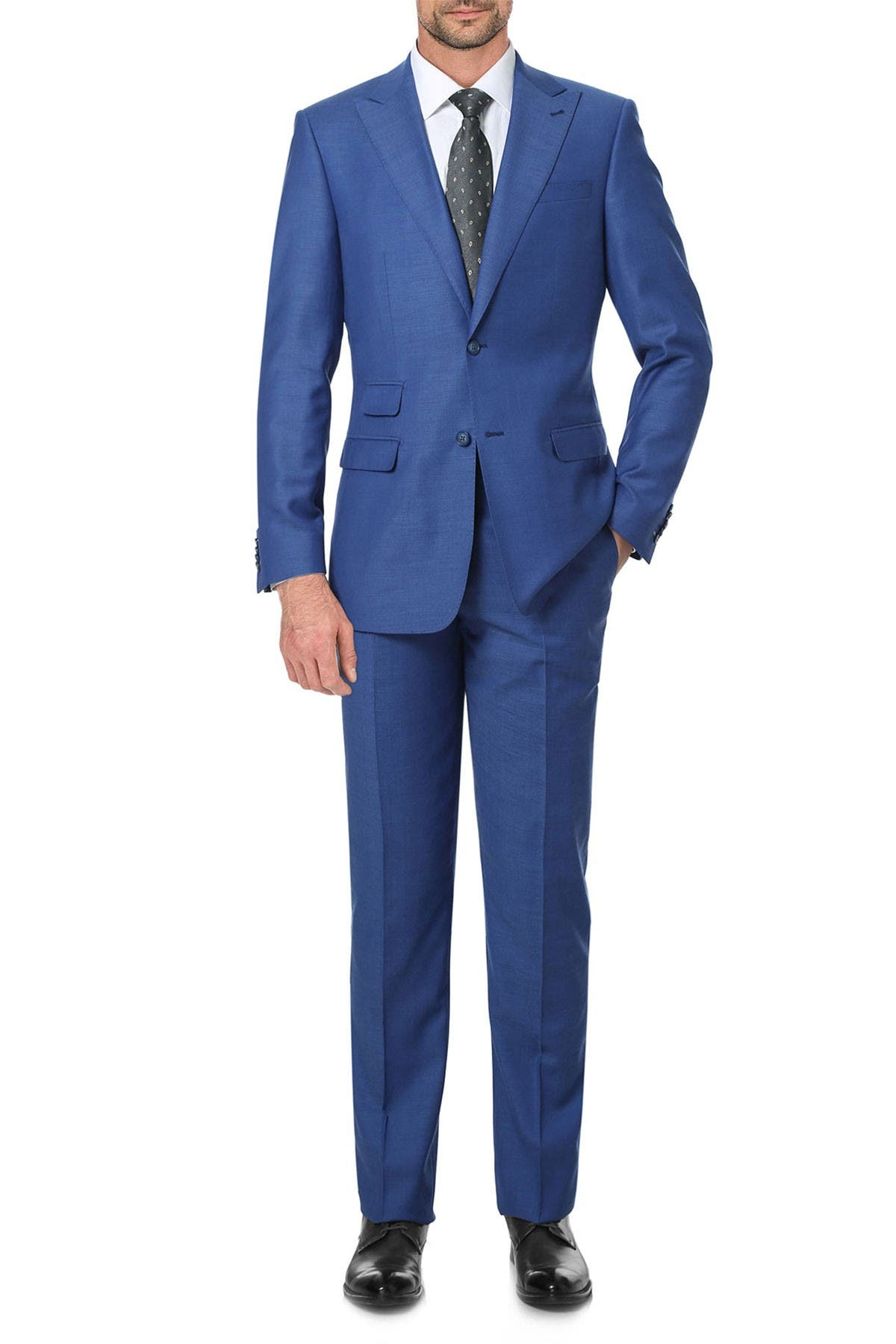 Image of English Laundry Solid Blue Slim Fit Two Button Notch Lapel Wool Suit