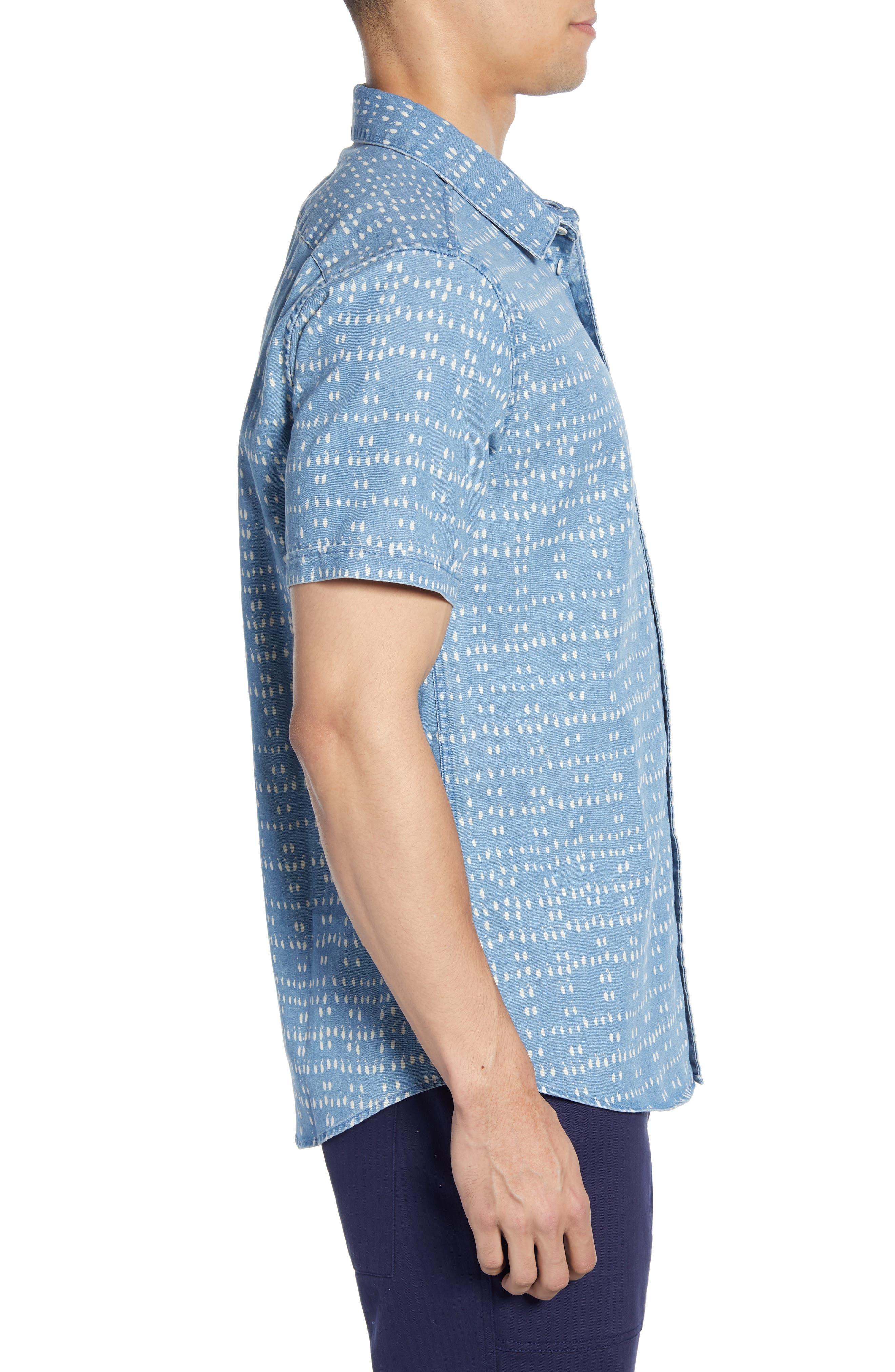 ,                             Nakama Dot Slim Fit Woven Shirt,                             Alternate thumbnail 4, color,                             DENIM