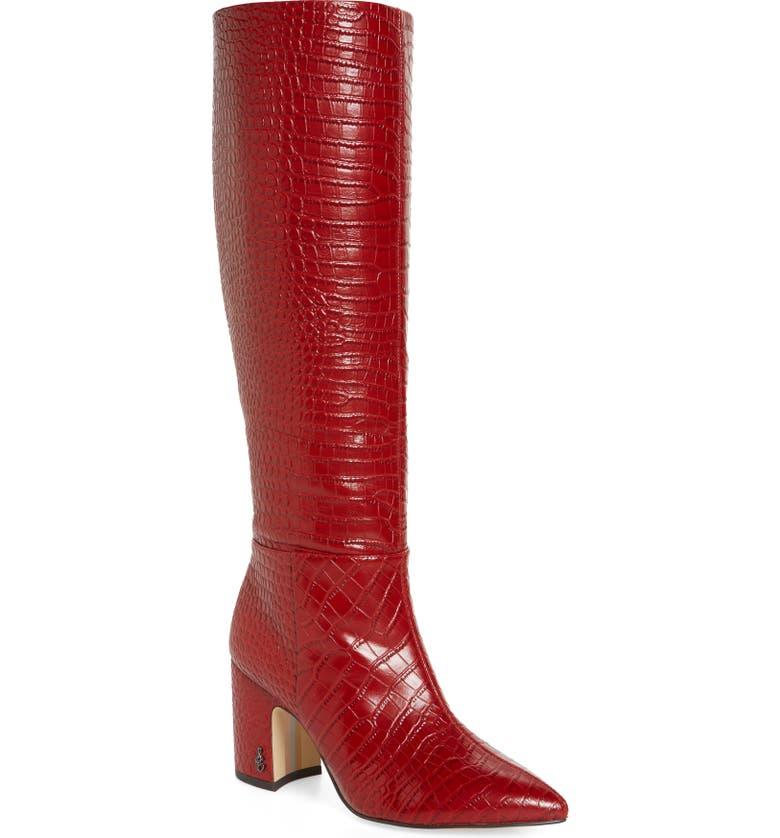 SAM EDELMAN Hiltin Knee High Boot, Main, color, SPICED MAHOGANY LEATHER