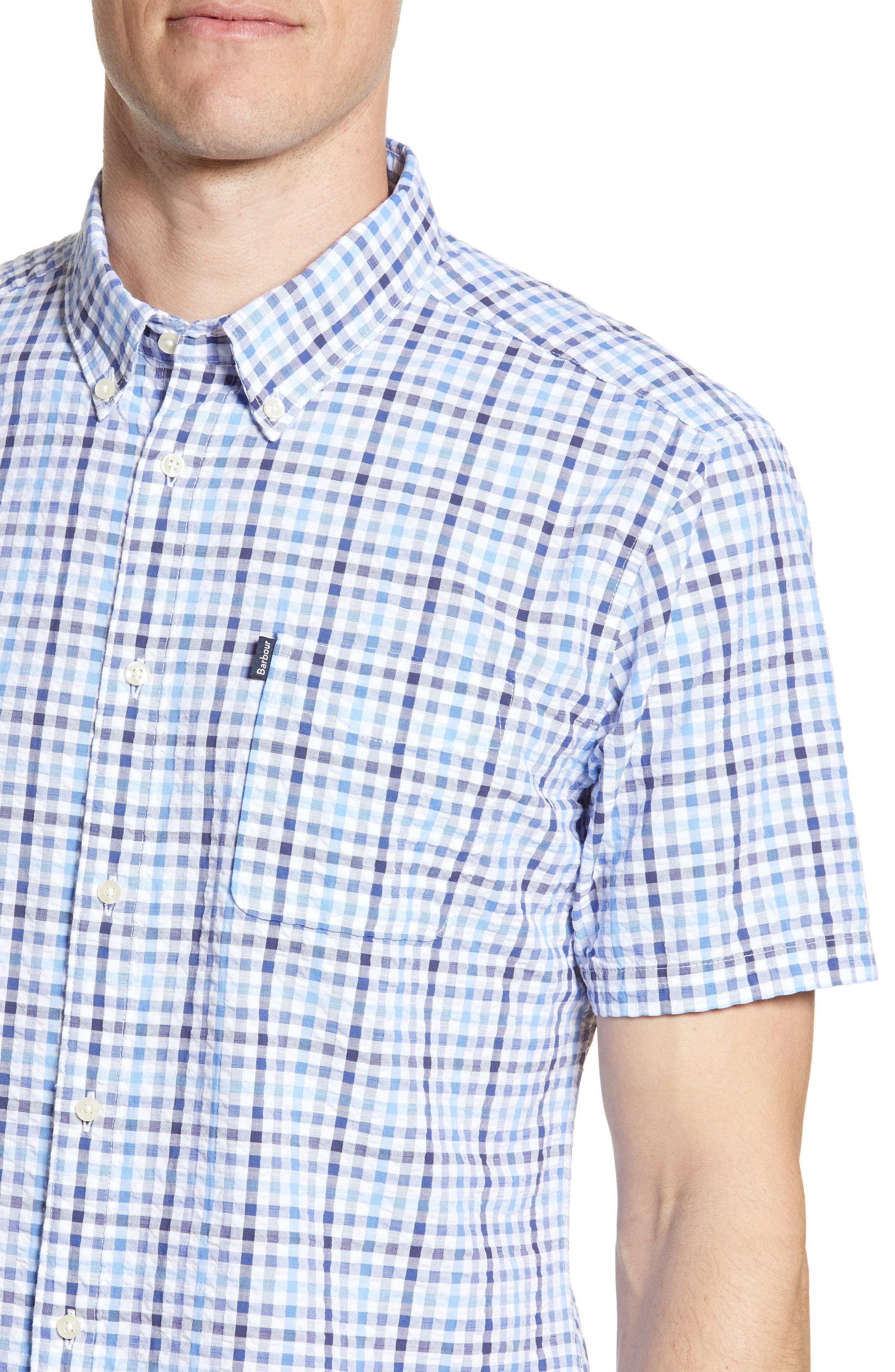 ,                             Tailored Fit Check Seersucker Woven Shirt,                             Alternate thumbnail 2, color,                             NAVY