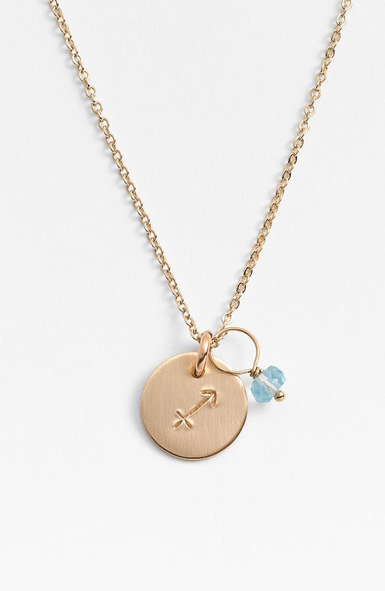 NASHELLE 14k-Gold Fill & Semiprecious Birthstone Zodiac Mini Disc Necklace, Main, color, SAGITTARIUS