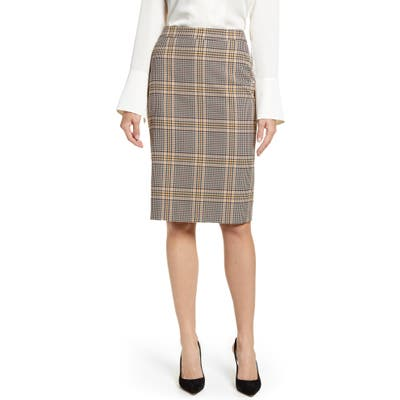 1.state Plaid Pencil Skirt, Yellow