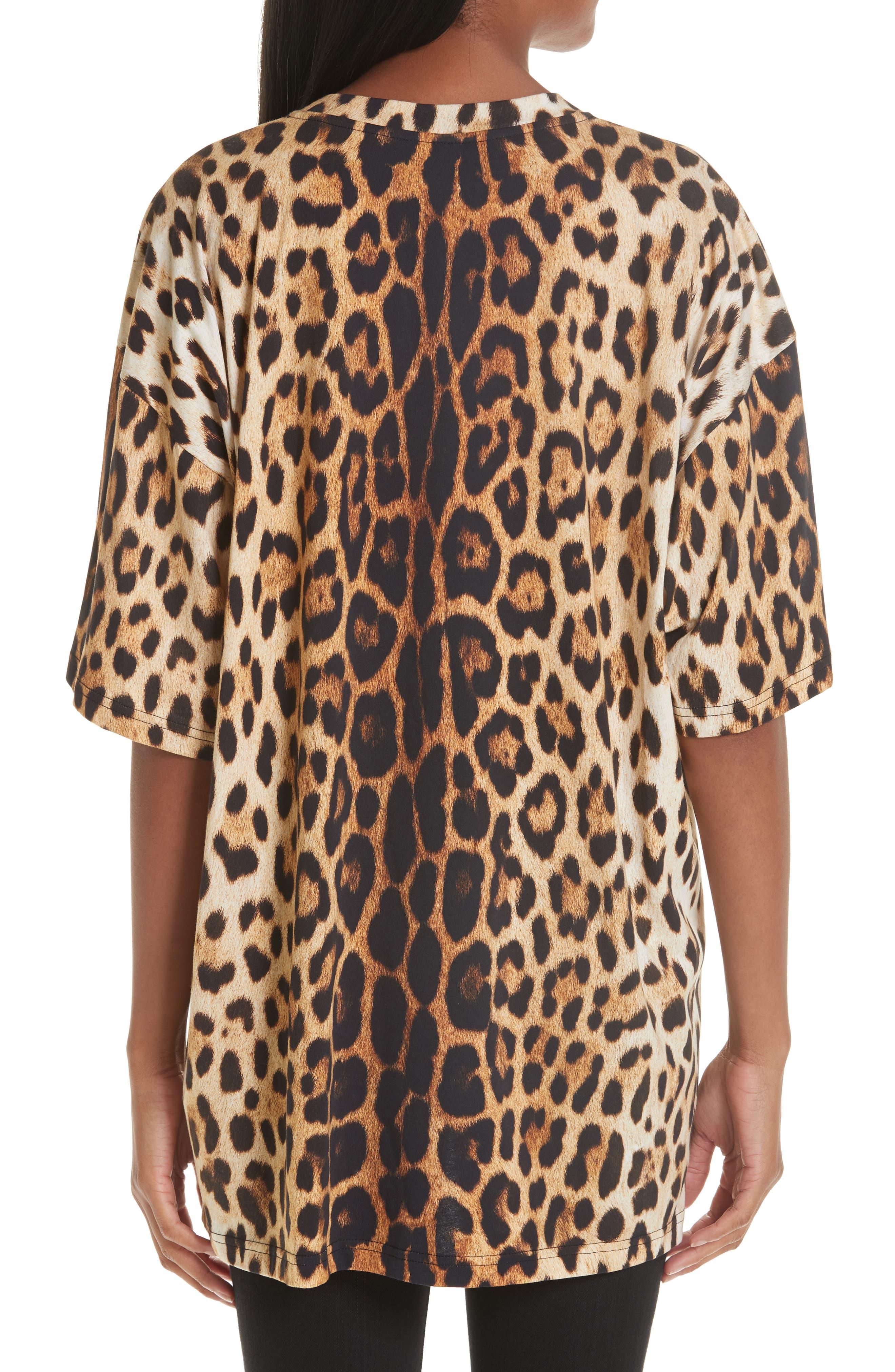 ,                             Leopard & Logo Print Oversize Tee,                             Alternate thumbnail 2, color,                             230
