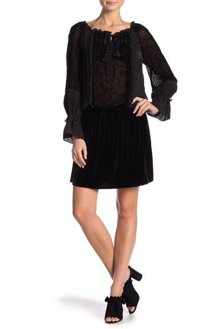 Image of Hale Bob Silk Tie Neck Long Sleeve Dress