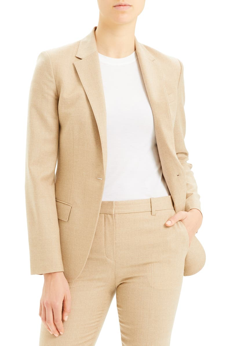 THEORY Staple Wool Blazer, Main, color, LIGHT CAMEL MELANGE
