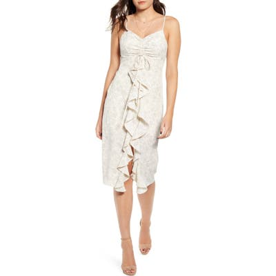 Endless Rose Scatter Dot Ruffle Front Dress, Ivory
