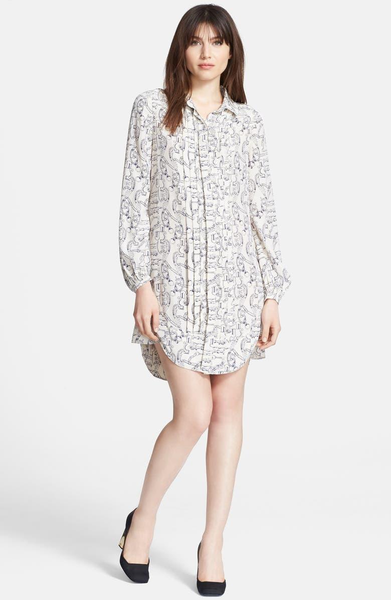 TORY BURCH 'Cora' Silk Shirtdress, Main, color, 280
