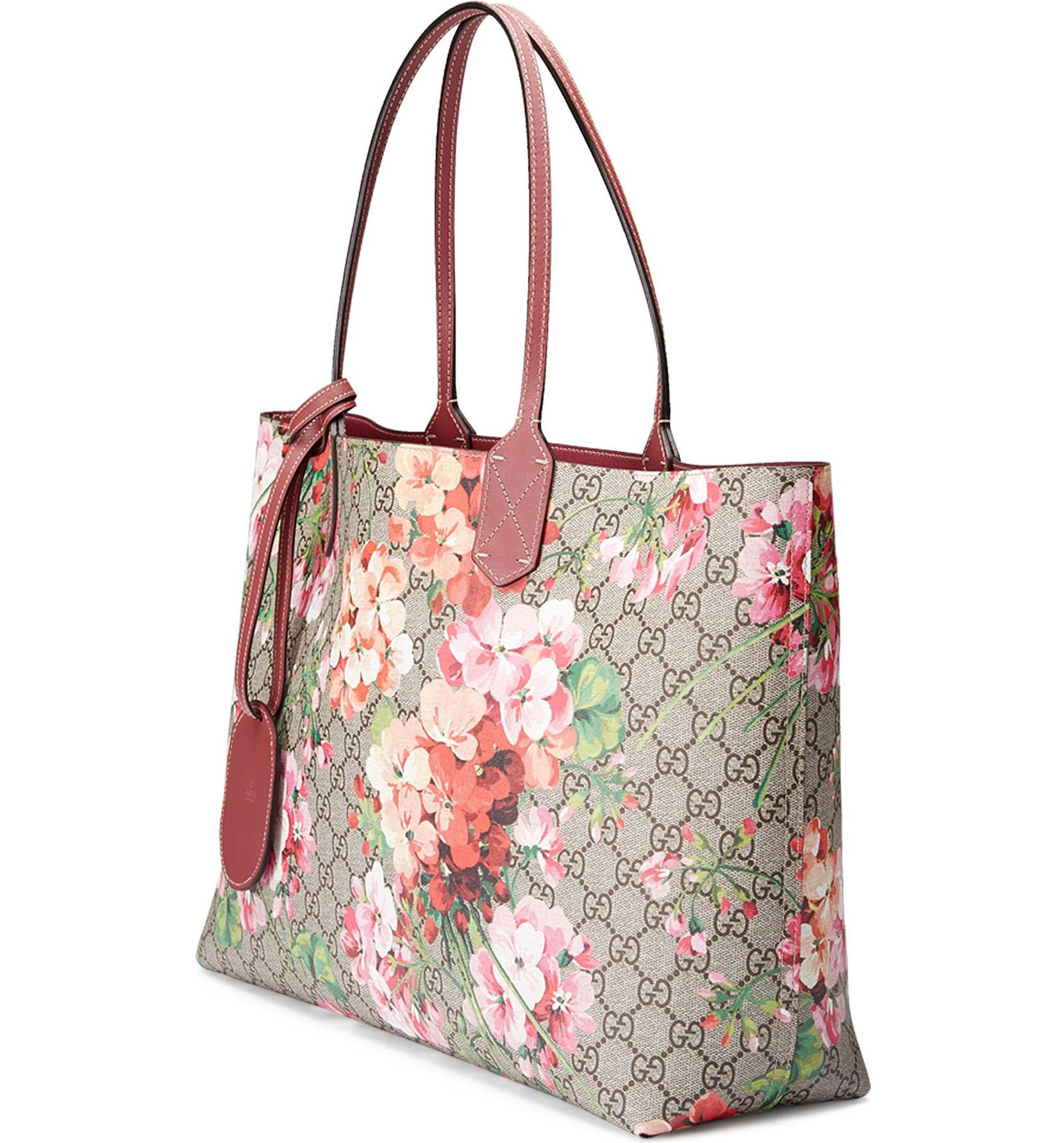 2d361ba80 Gucci Medium GG Blooms Reversible Canvas & Leather Tote | Nordstrom
