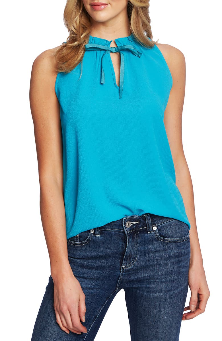 CECE Ruffle Tie Neck Sleeveless Stretch Crepe Blouse, Main, color, 415