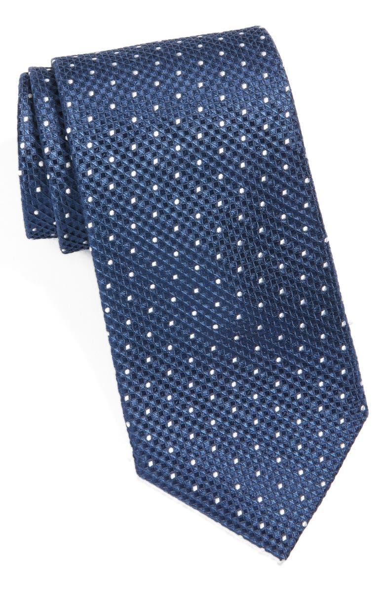 NORDSTROM MEN'S SHOP Dot Silk Tie, Main, color, NAVY