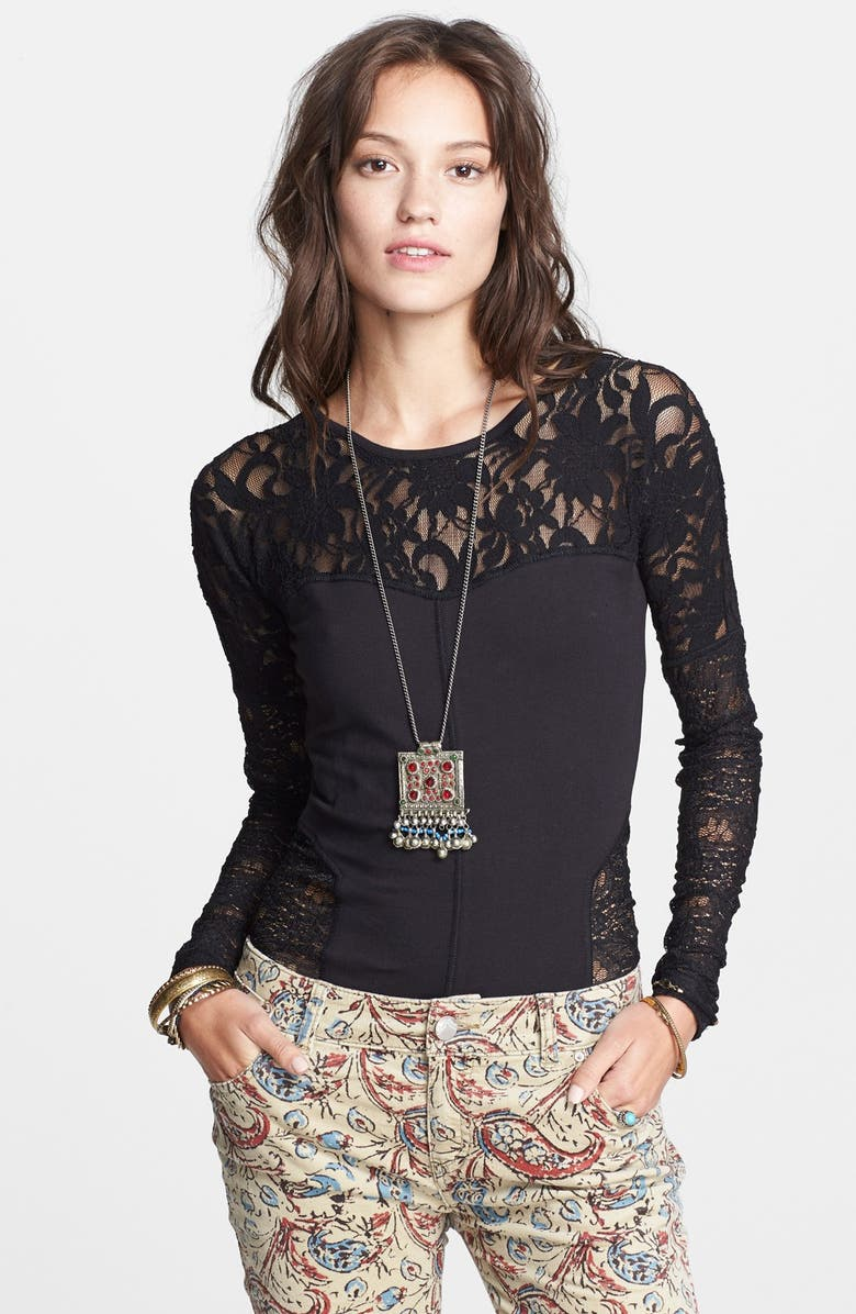 FREE PEOPLE 'Sweet Thang' Lace Top, Main, color, 001