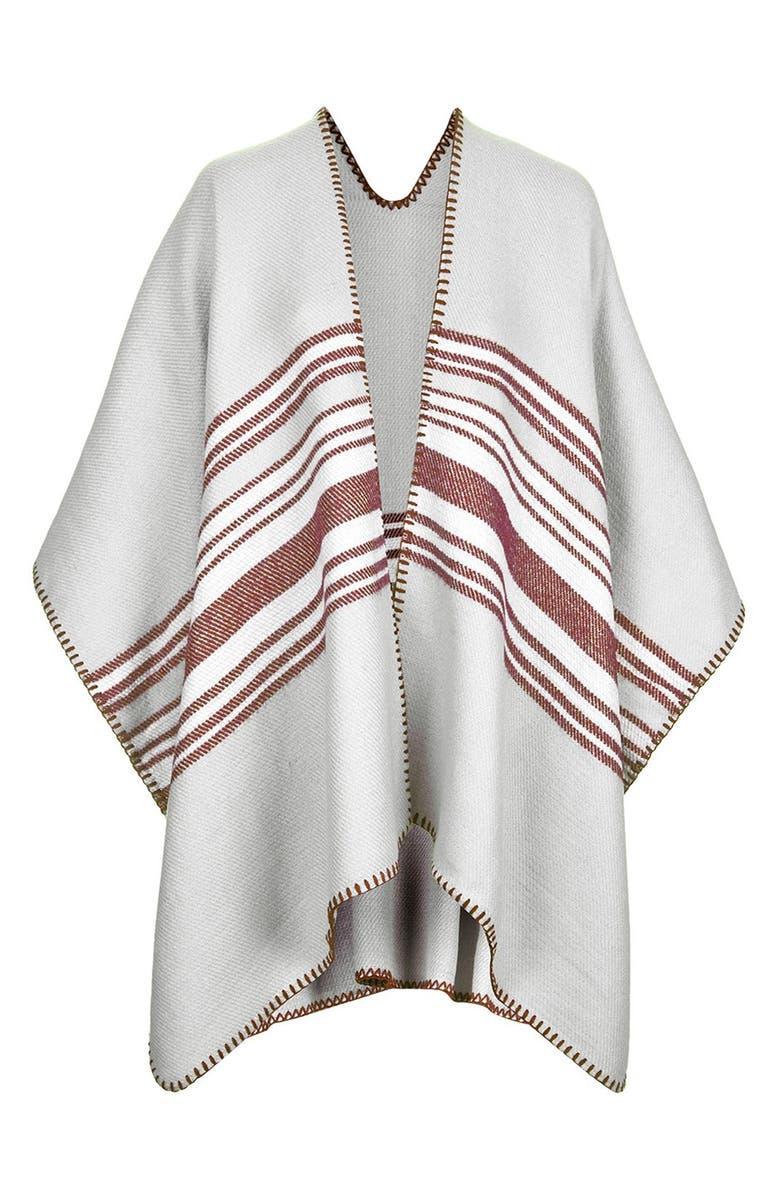 TOPSHOP Stripe Blanket Cape, Main, color, 020