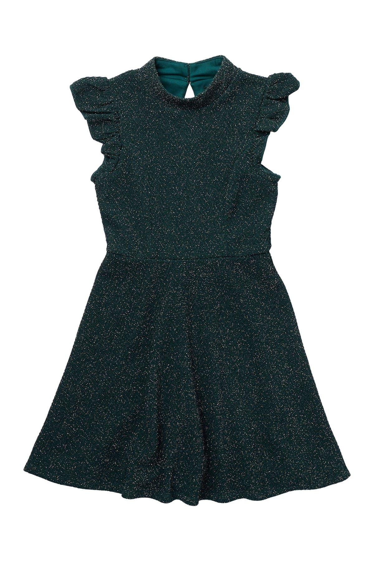 Image of Zunie Ruffle Sleeve Mock Neck Dress