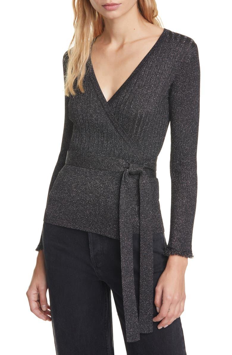DVF Beck Metallic Detail Long Sleeve Wool Blend Wrap Sweater, Main, color, BLACK
