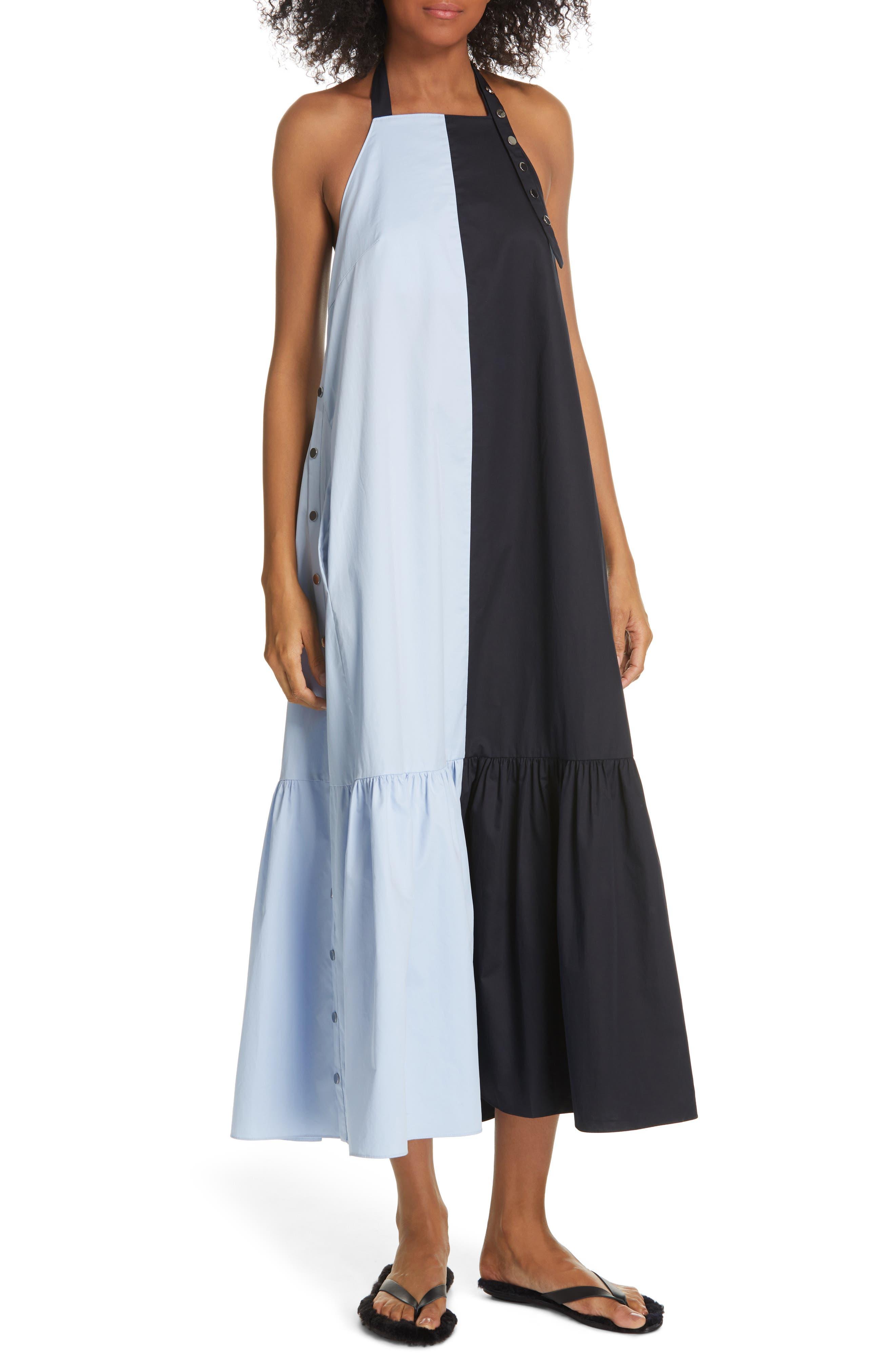 Tibi Colorblock Tech Poplin Dress, Blue