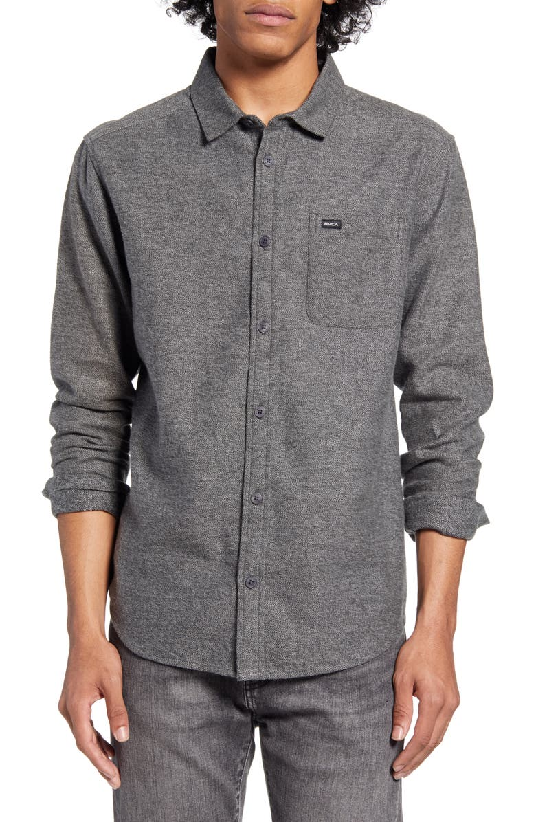 RVCA Sand Button-Up Flannel Shirt, Main, color, BLACK
