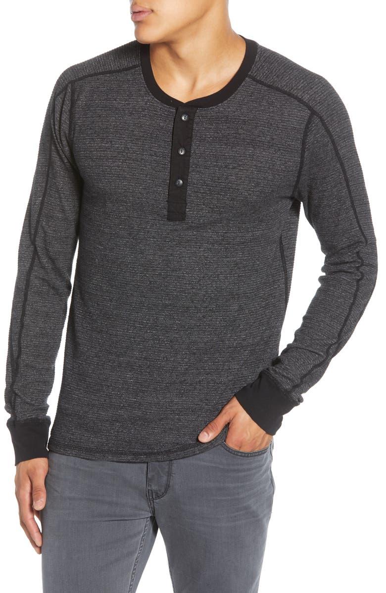 MILLS SUPPLY BY SPLENDID Slim Fit Long Sleeve Thermal Knit Henley, Main, color, BLACK