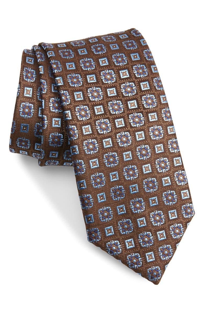 CANALI Medallion Silk Tie, Main, color, BROWN
