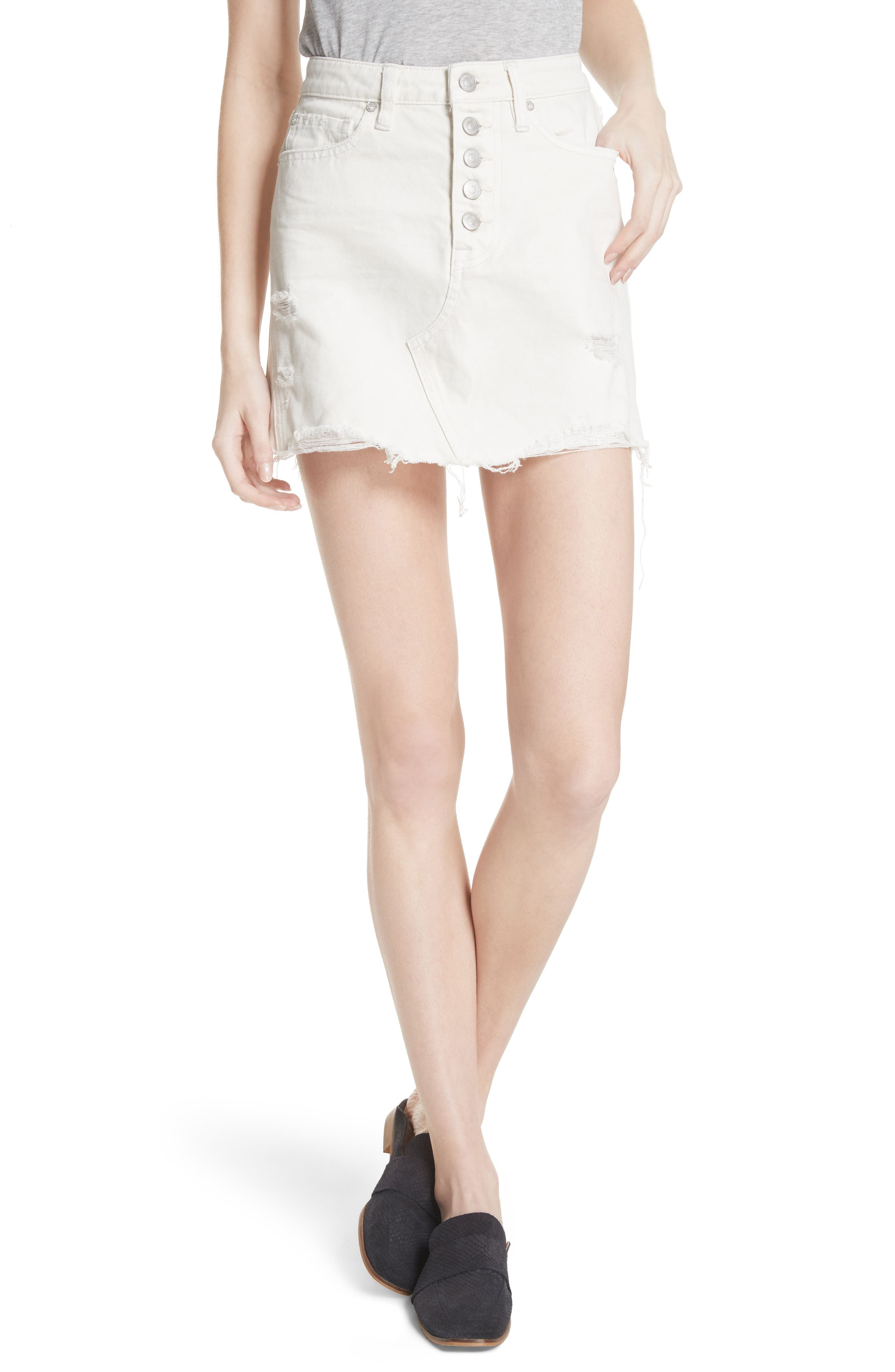 Image of Free People Destroyed Denim Mini Skirt