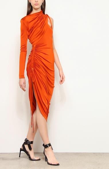 One-Shoulder Asymmetrical Drawstring Jersey Dress, video thumbnail