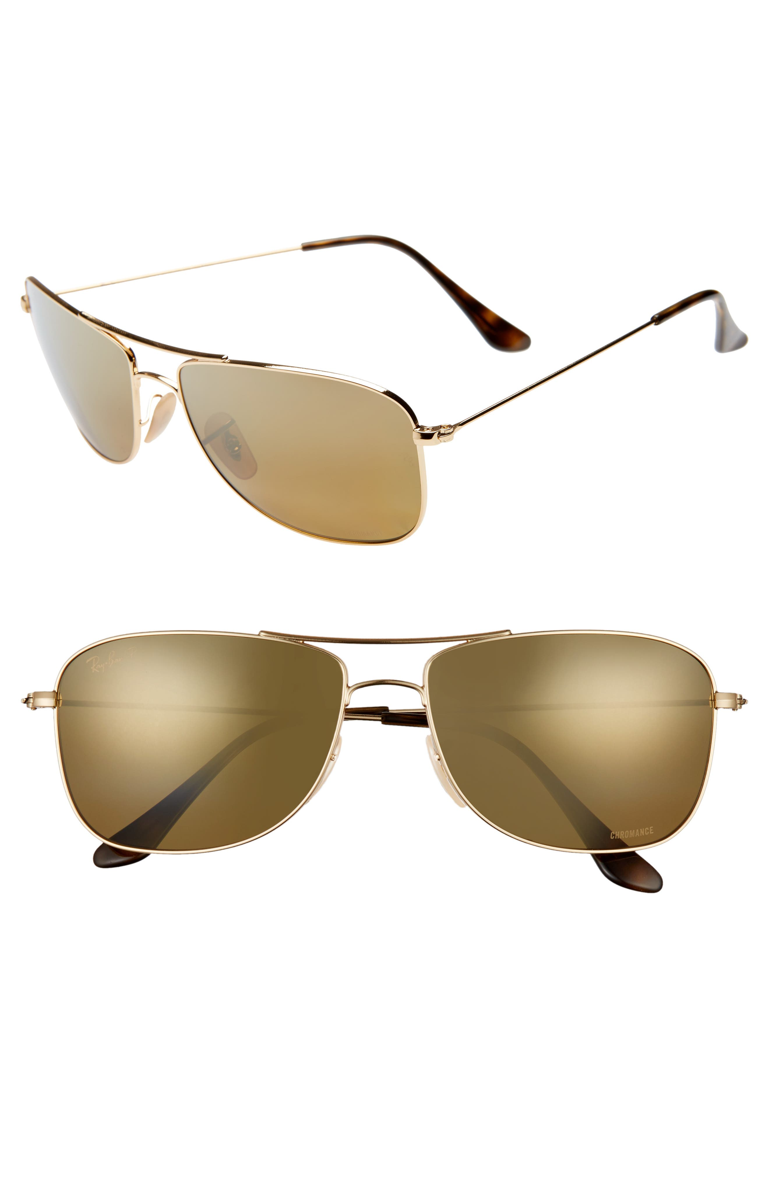 Ray-Ban 5m Chromance Aviator Sunglasses - Gold