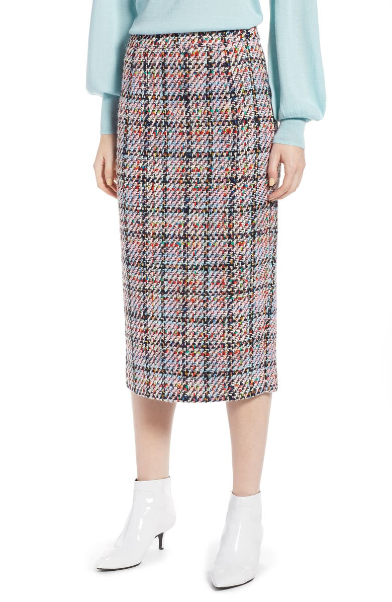 HALOGEN<SUP>®</SUP> Tweed Midi Skirt, Main, color, 680