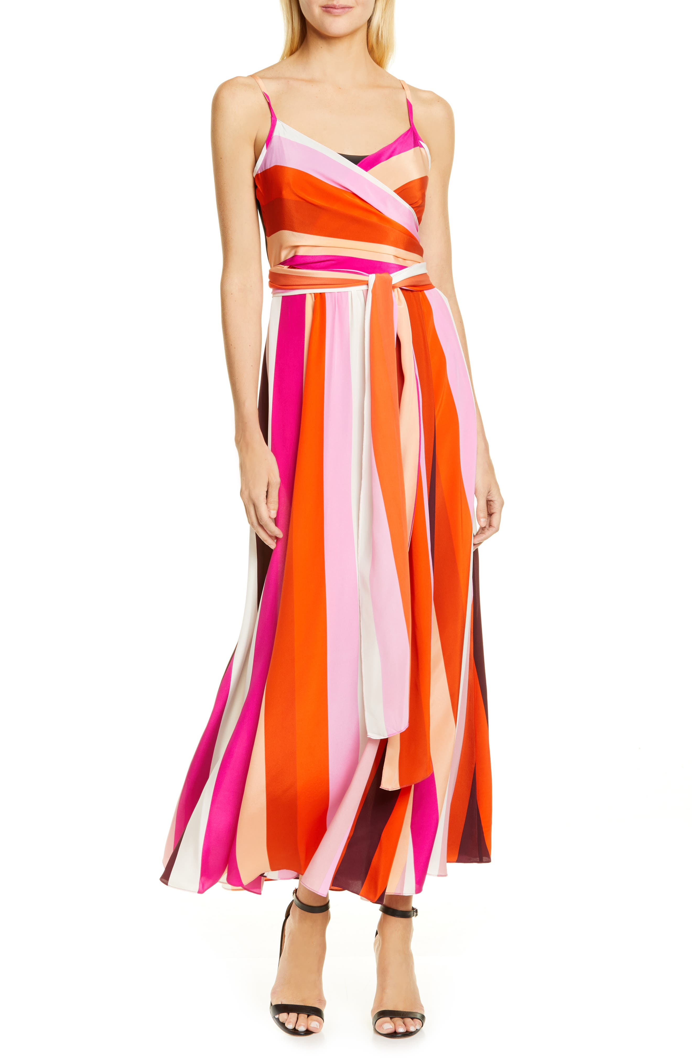 Dvf Azalea Stripe Silk Wrap Maxi Dress, Pink