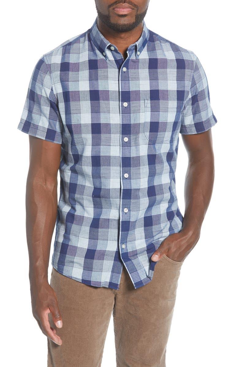 1901 Trim Fit Check Short Sleeve Button-Down Shirt, Main, color, 410