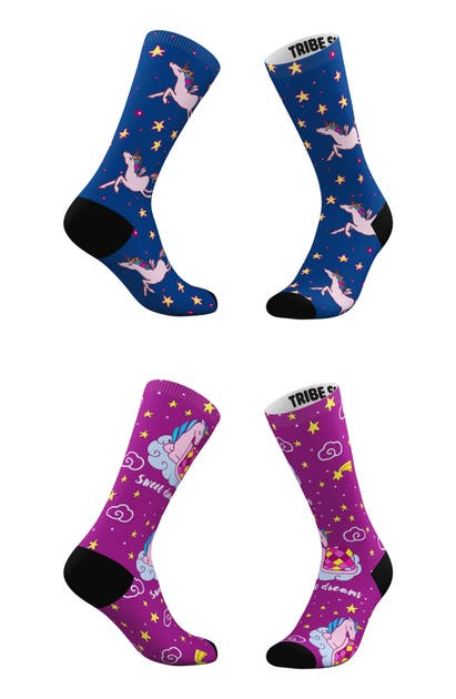 Tribe Socks ASSORTED 2-PACK SWEET DREAMS & STARRY SKIES CREW SOCKS